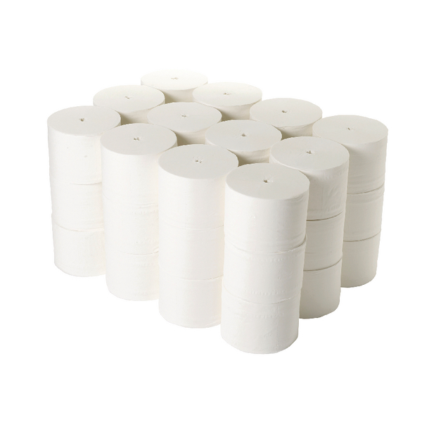 2Work Coreless Toilet Rolls 95mmx96m 800 Sheets White (Pack of 36) TWH900
