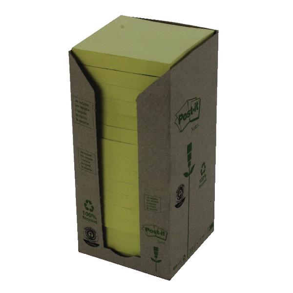 Post-it Notes Recycled Tower Pack 76 x 76mm Canary Yellow Pack of 16 654-1T