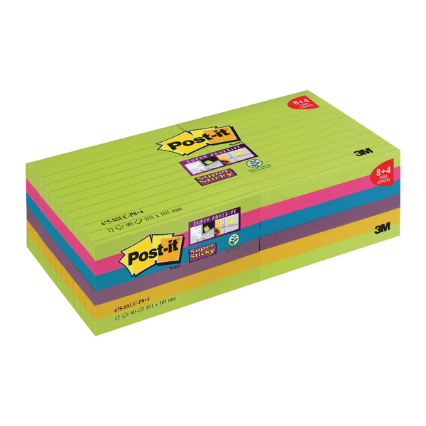Post-it Super Sticky XL Notes Rainbow 100 x 100mm 90 sheets Pack of 12 675-SSUC-P8+4