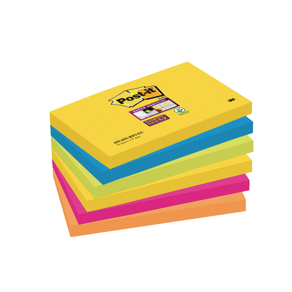 Post-it Notes Super Sticky 76 x 127mm Rio (Pack of 6) 70-0052-5132-0