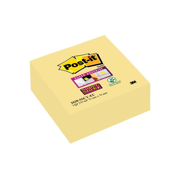Post-it Note Cube Super Sticky 76x76mm Canary Yellow 2028-SSCY-EU