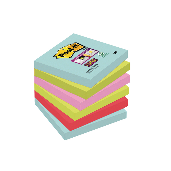 Post-it Super Sticky Notes Miami 76x76mm 654-6SS-MIA