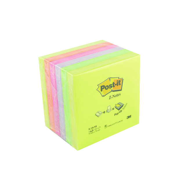 Post-it Z-Notes 76x76mm Neon Rainbow Pack of 6) R330NR