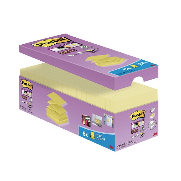 Post-it Super Sticky Z Notes 76 x 76mm Canary Yellow Value Pack of 20 R330-SSCY-VP20