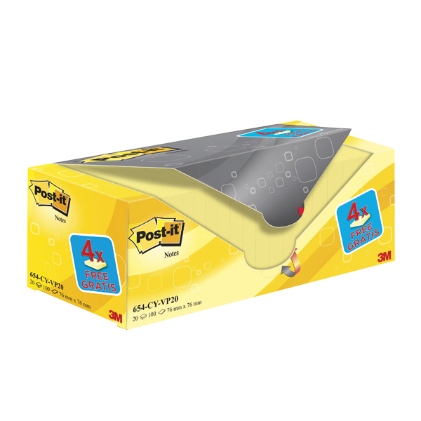 Post-it Notes 76 x 76mm Canary Yellow Notes Value Pack of 20 654CY-VP20