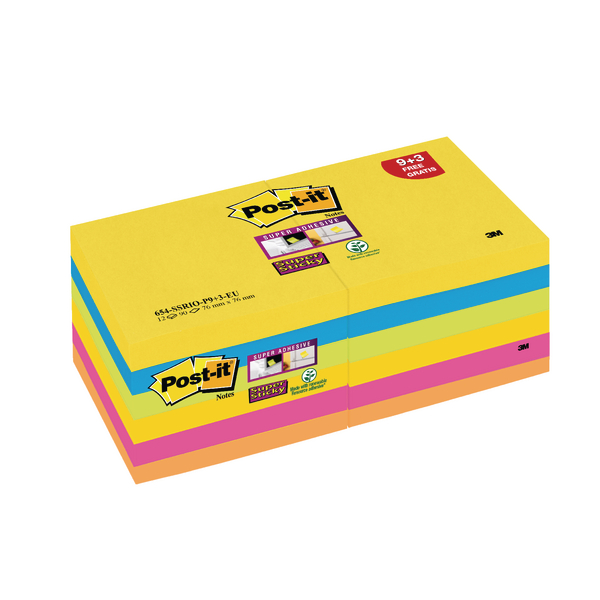 Post-it Super Sticky Z-Notes 76 x 76mm Rio Collection (Pack of 12) R330-SSRIO-P9+3
