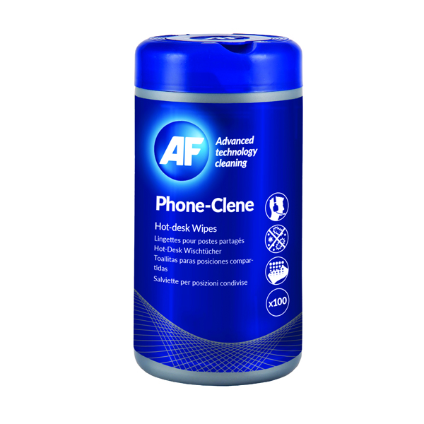 AF Phone-Clene Telephone Wipes Tub (Pack of 100) APHC100T