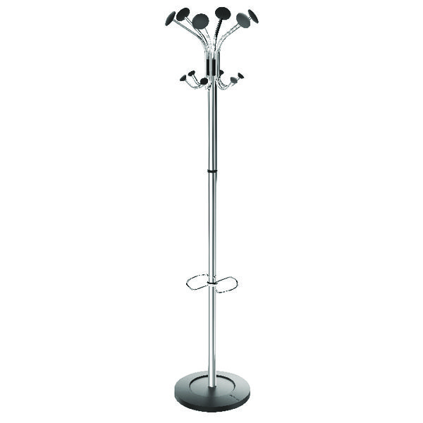 Alba Chrome Coat Stand Chrome/Black PMCLASS