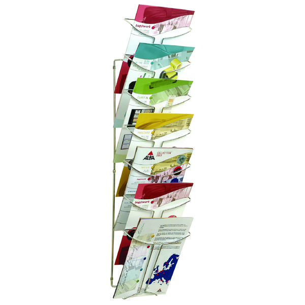 Alba Wall Mounted 7-Tier 7-Pocket Literature A4 Holder Chrome DD7M