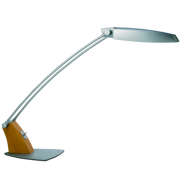 Alba Tendo Fluorescent Desk Lamp 11W Grey/Wood FLUOTEN UK