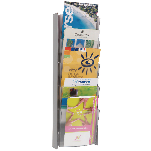 Alba Wall Display Unit 5 Pocket A5 Metallic W200xH560mm DDPROmmM