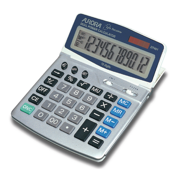 Aurora Silver/Grey 12-Digit Desk Calculator DT401