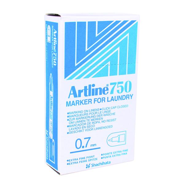 Artline Laundry Marker 750 Bullet Tip Fine Black (Pack of 12) A750