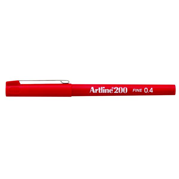 Artline 200 Red Fineliner Pen (Pack of 12)