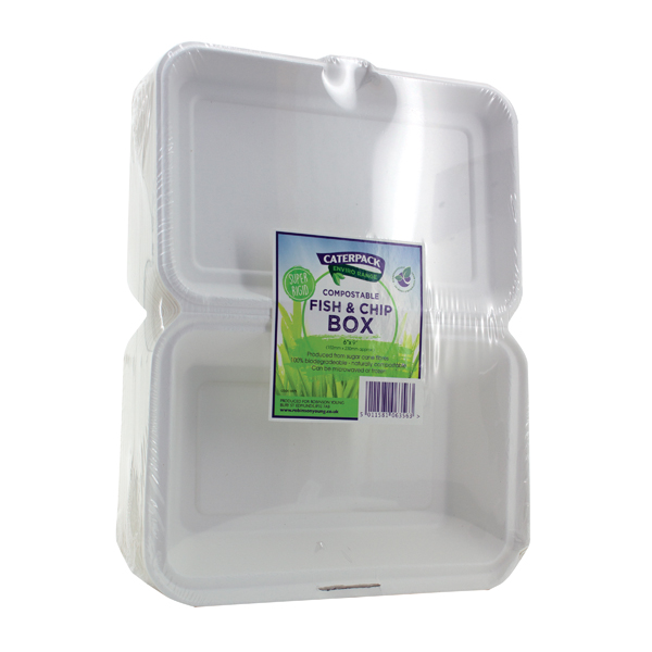 Caterpack Biodegradable Hinged Fish and Chip Container (Pack of 50) RY10573 / B030