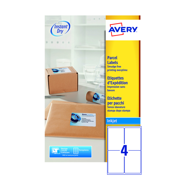 Avery QuickDRY White Inkjet Labels 139 x 99.1mm 4 Per Sheet Pack of 100 J8169-25
