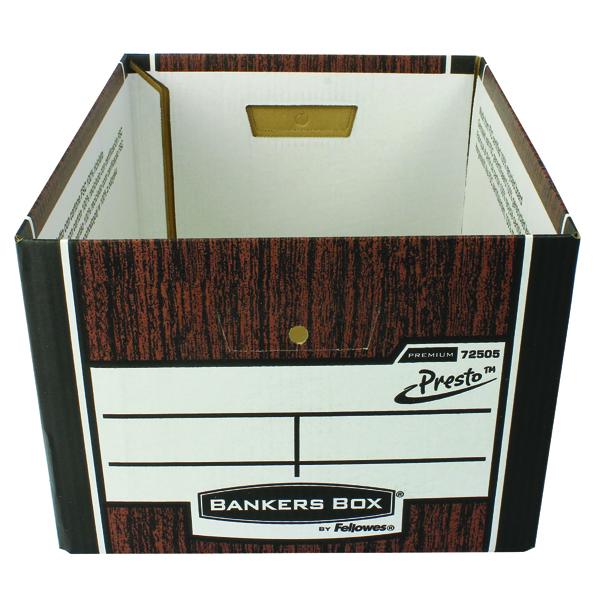 Fellowes Bankers Box Premium Presto Classic Storage Box Woodgrain (Pack of 10) 7250501