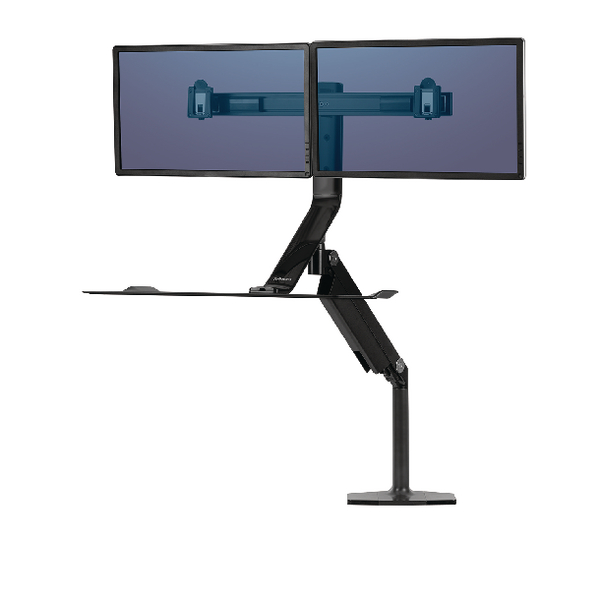 Fellowes Extend Sit Stand Workstation Featuring Humanscale Technology Dual 9801