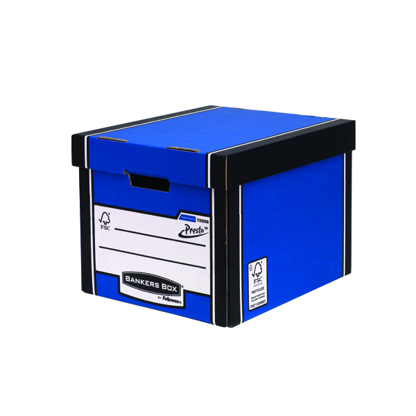 Fellowes Bankers Box Premium Presto Storage Box Blue/White (Pack of 12) 7260601