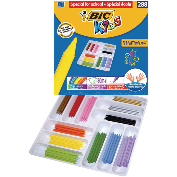 Bic Kids Plastidecor Colouring Crayons Class Pack of 288) 887835