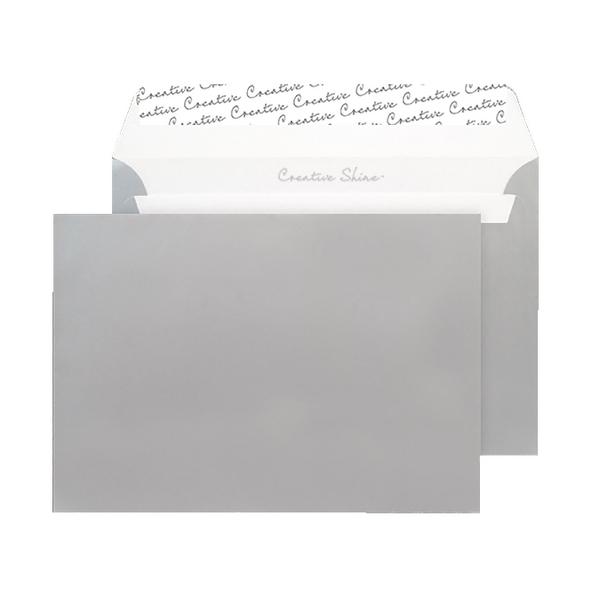 C5 Wallet Envelope Peel and Seal 130gsm Metallic Silver Black 93028 (Pack of 250)