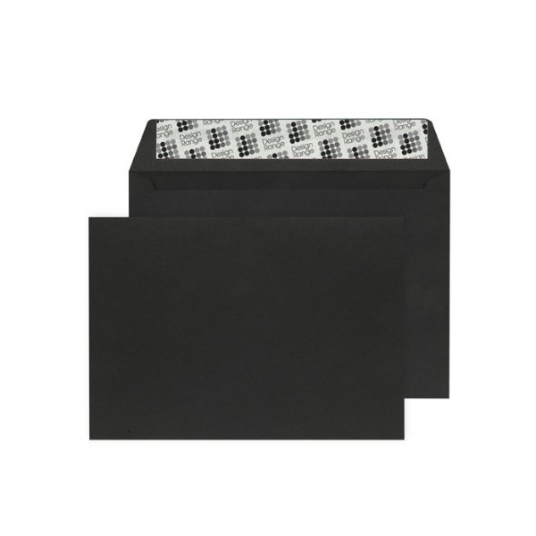 C6 Wallet Envelope Peel and Seal 120gsm Jet Black (Pack of 250) Black 93032