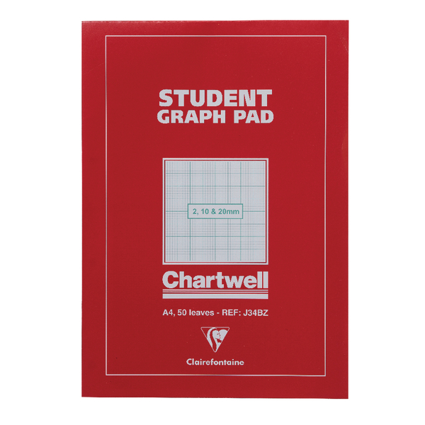 Chartwell A4 Graph Pad 50 Leaf 2/10/20mm J34B