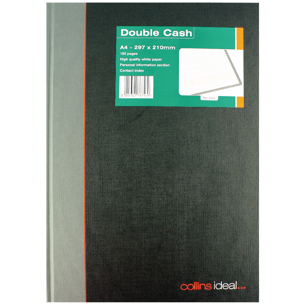 Collins Ideal A4 Book Double Cash 192 Pages 6424