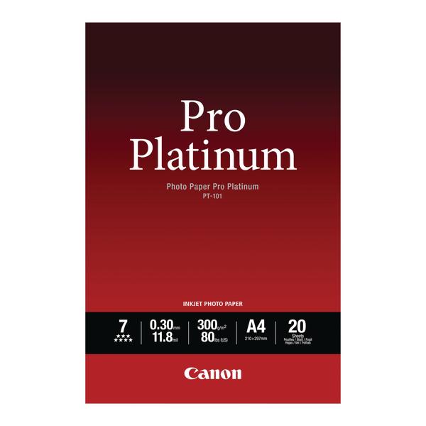 Canon Pro A4 Platinum Photo Paper PT-101 (Pack of 20) 2768B016