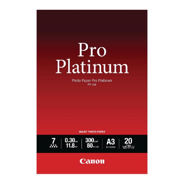 Canon Pro A3 Platinum Photo Paper PT-101 (Pack of 20) 2768B017