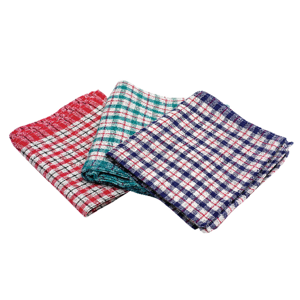 2Work Assorted Check Design Tea Towels 430x680mm (Pack of 10) KRSRY0311