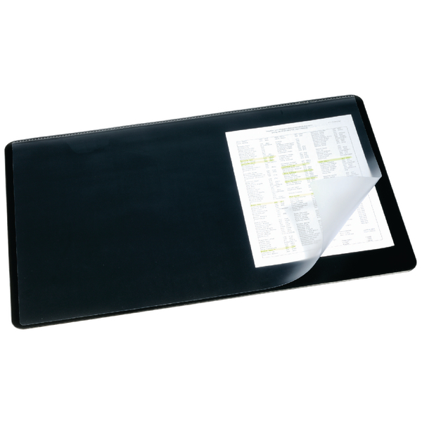 50x70cm Durable Black Desk Mat With Transparent Overlay 520x650mm 7203/01