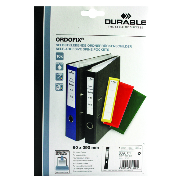 Durable Black Ordofix File Spine Label (Pack of 10) 8090/01