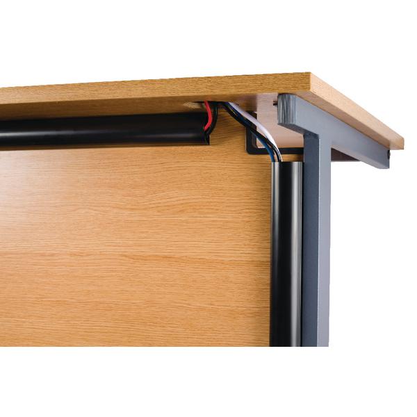 D-Line Black Desk Trunking Cable Management 50x25mm 1.5m 2D155025B (Pack of 2)