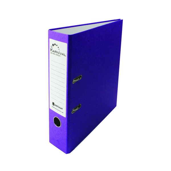 Rexel Karnival 70mm Violet A4 Lever Arch File (Pack of 10) 20747EAST