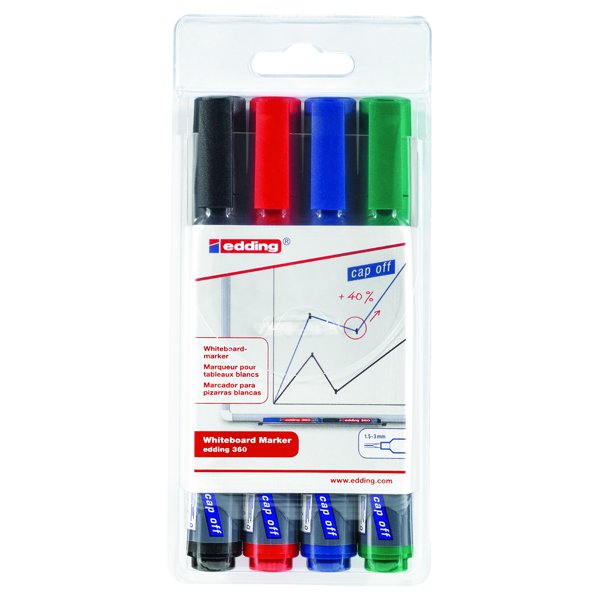 Edding 360 Drywipe Assorted Marker  Pack of 4 4-360-4