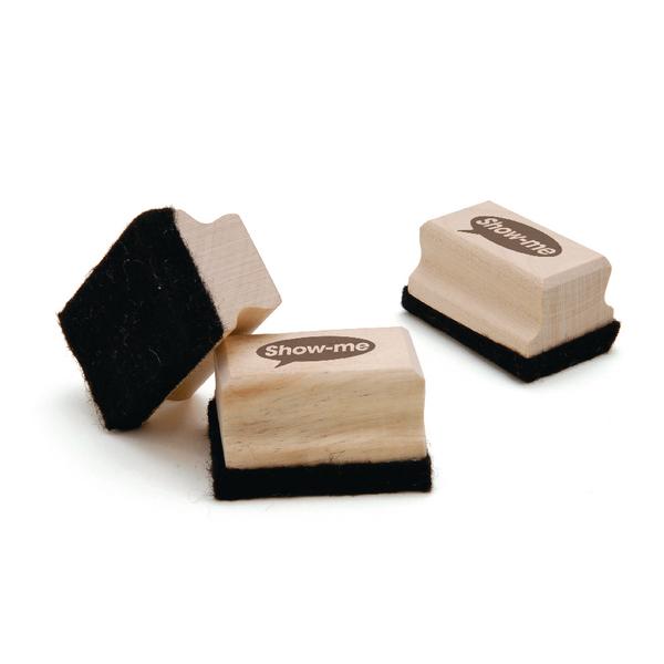 Show-me Wooden Handled Mini Felt Whiteboard Eraser (Pack of 30) WME30