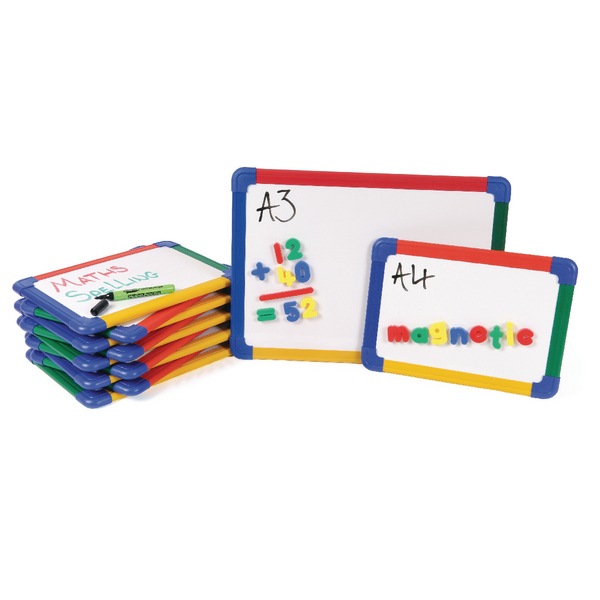 Show-me A4 Rainbow Framed Magnetic Whiteboard (Pack of 10) MBA4/10