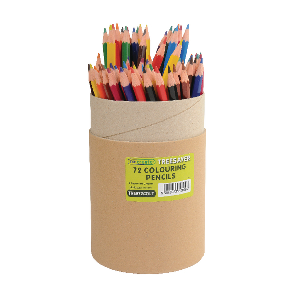 ReCreate Treesaver Colouring Pencils Assorted Pack of 72 TREE72COLT