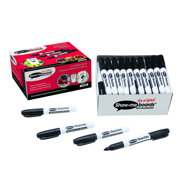 Show-me Teacher Drywipe Black Marker Pack of 50 STM50