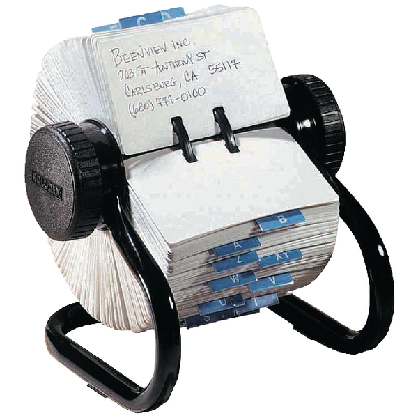 Rolodex Classic 500 Rotary Open Card File Black S0793600