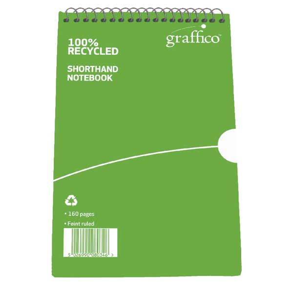 Graffico Recycled Shorthand Notebook Ruled 160 Pages 203x127mm 9100037