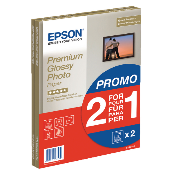 Epson Premium Glossy Photo A4 Paper 2-for-1 (Pack of 15 + 15 Free) C13S042169