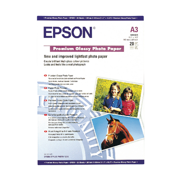 Epson A3 Premium Glossy Photo Paper 255gsm (Pack of 20) C13S041315