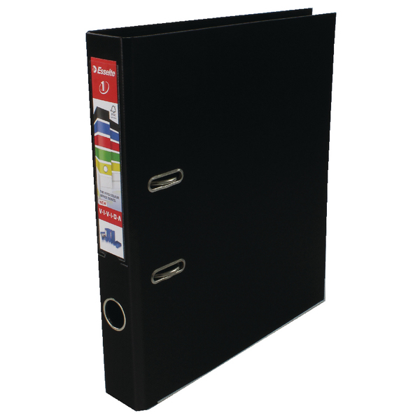 Esselte A4 Polypropylene 50mm Black Lever Arch File (Pack of 10) 811470