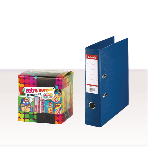 Esselte Lever Arch File Foolscap 75mm Polypropylene Blue (Pack of 10) with FOC Sweets ES810773