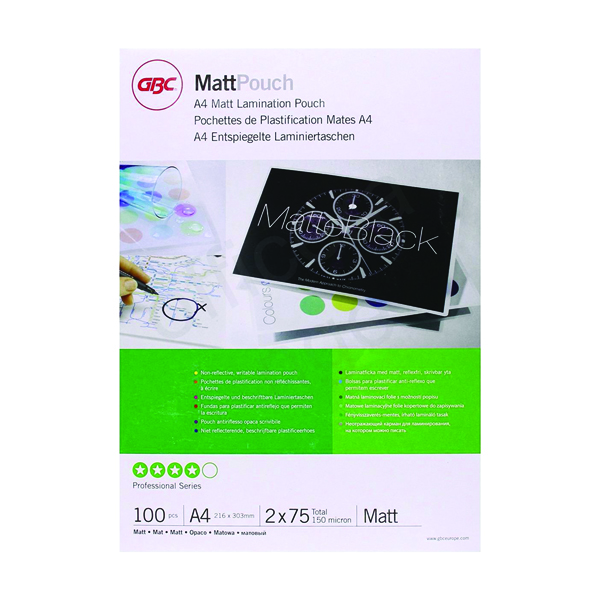 GBC Laminating Pouches Premium Quality Matt Non Reflective 150 Micron For A4 (Pack of 100) 3747240