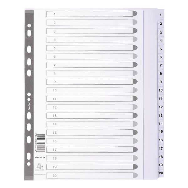 Dividers Mylar A4 Maxi White 1-20 MWD1-20Z-EW