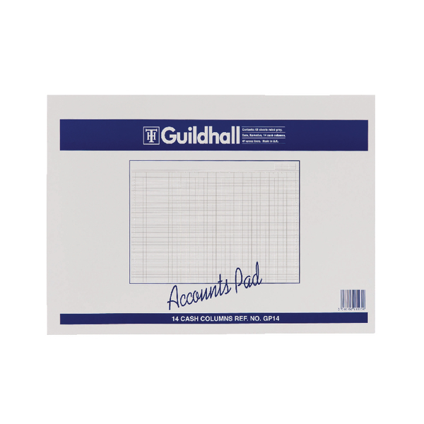 Guildhall Account Pad 14-Column Cash 298x406mm GP14