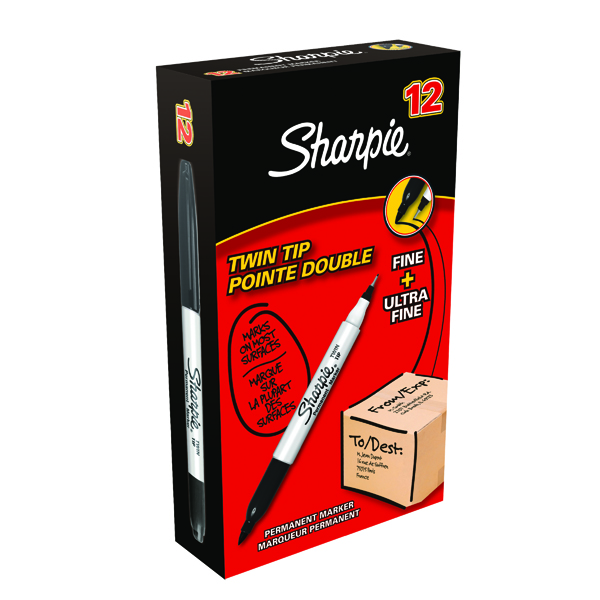 Sharpie Black Twin Tip Permanent Marker (Pack of 12) S0811100